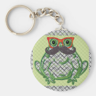 Frog with mustache and fish glasses by Artinspired Key Chains