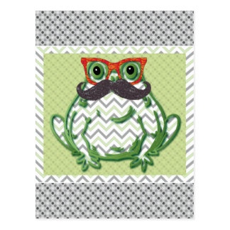 Frog with mustache and fish glasses by Artinspired Postcard