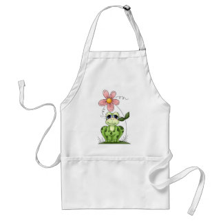 frog with pink flower adult apron