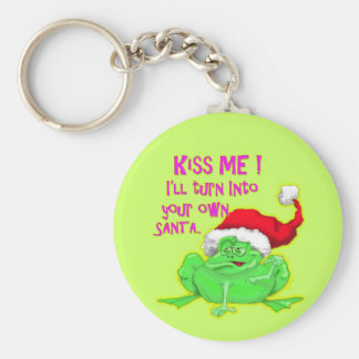 Frog with Santa hat Funny saying Keychain
