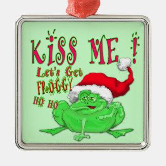 Frog with santa hat saying Kiss Me Metal Ornament