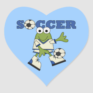 Frog With Soccer Ball T-shirts and Gifts Heart Sticker