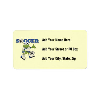 Frog With Soccer Ball T-shirts and Gifts Label