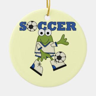 Frog With Soccer Ball T-shirts and Gifts Double-Sided Ceramic Round Christmas Ornament
