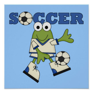Frog With Soccer Ball T-shirts and Gifts Posters