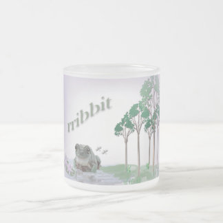 Frog With Water Lillies Frosted Glass Coffee Mug