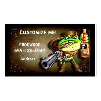 Frog Wood Business Card Cowboy Frog