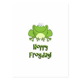 ¡Frogday de lúpulo! Rana feliz de viernes Postal