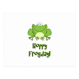 ¡Frogday de lúpulo! Rana feliz de viernes Tarjetas Postales
