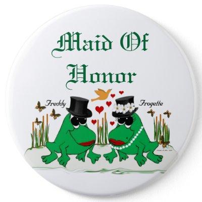 Frogette & Freddy Frog pinback button