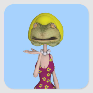 frogface blonde girl square sticker