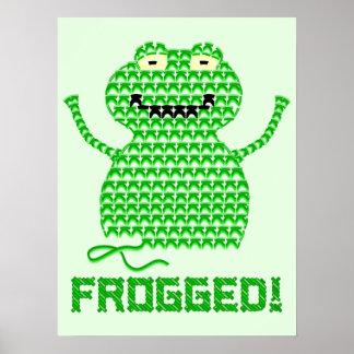¡Frogged! Rana del ganchillo del vector (fondo ver Póster