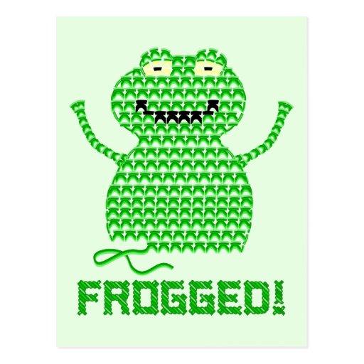 ¡Frogged! Rana del ganchillo del vector (fondo ver Tarjetas Postales