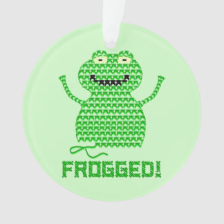 Frogged! Vector Crochet Frog (Green Background) Ornament