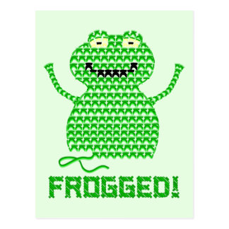 Frogged! Vector Crochet Frog (Green Background) Postcard