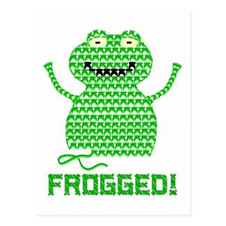 Frogged! Vector Crochet Frog Postcard