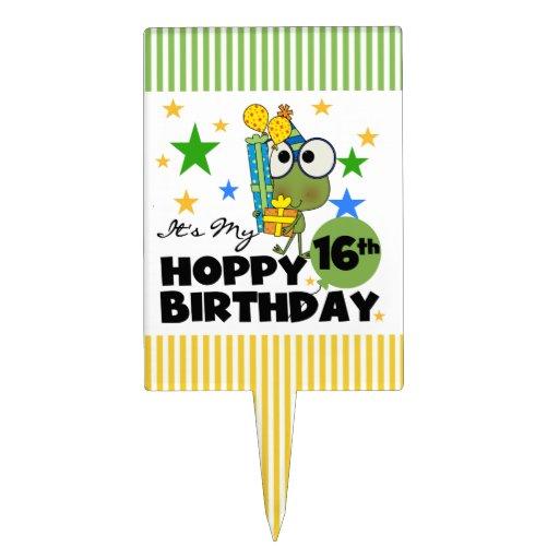 Froggie Hoppy 16th Birthday Cake Topper