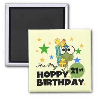 Froggie Hoppy 21st Birthday 2 Inch Square Magnet