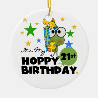 Froggie Hoppy 21st Birthday Christmas Tree Ornament