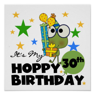 Froggie Hoppy 30th Birthday Poster