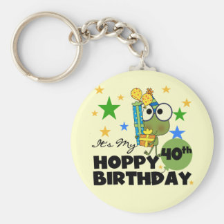 Froggie Hoppy 40th Birthday Basic Round Button Keychain