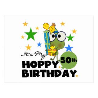 Froggie Hoppy 50th Birthday Postcard