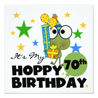 Froggie Hoppy 70th Birthday Personalized Announcements