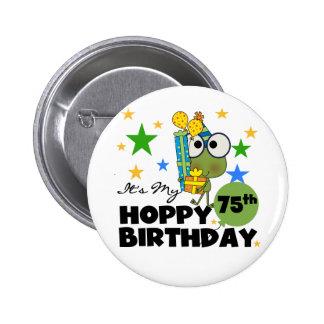 Froggie Hoppy 75th Birthday 2 Inch Round Button