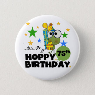 Froggie Hoppy 75th Birthday Button