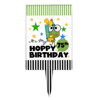 Froggie Hoppy 75th Birthday Cake Topper