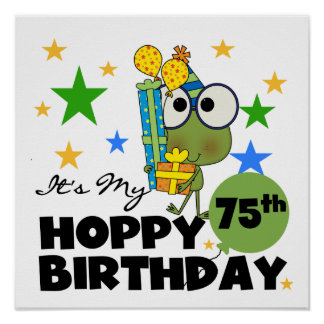 Froggie Hoppy 75th Birthday Poster