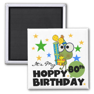 Froggie Hoppy 80th Birthday 2 Inch Square Magnet
