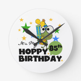 Froggie Hoppy 85th Birthday Round Wallclock