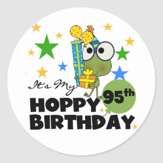 Froggie Hoppy 95th Birthday Round Stickers