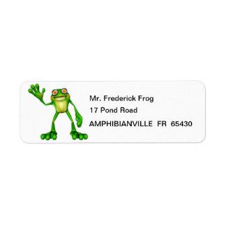 Froggie la rana que agita del dibujo animado lindo etiqueta de remite