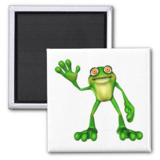 Froggie la rana que agita del dibujo animado lindo imán cuadrado