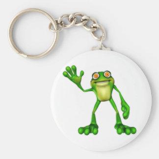 Froggie la rana que agita del dibujo animado lindo llaveros personalizados