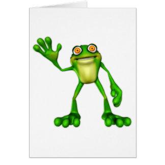 Froggie la rana que agita del dibujo animado lindo felicitación
