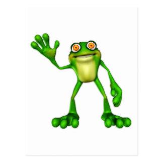 Froggie la rana que agita del dibujo animado lindo postales