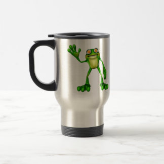 Froggie la rana que agita del dibujo animado lindo taza térmica