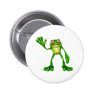 Froggie the Cute Cartoon Waving Frog 2 Inch Round Button