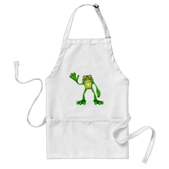 Froggie the Cute Cartoon Waving Frog Adult Apron