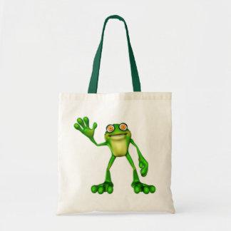 Froggie the Cute Cartoon Waving Frog Budget Tote Bag