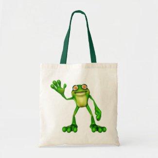 Froggie the Cute Cartoon Waving Frog Bag