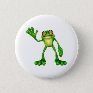 Froggie the Cute Cartoon Waving Frog Button