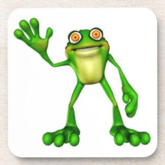 Froggie the Cute Cartoon Waving Frog Coaster