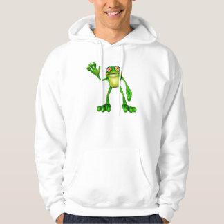 Froggie the Cute Cartoon Waving Frog Hoodie