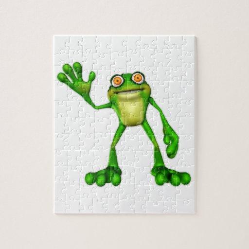 Froggie the Cute Cartoon Waving Frog Jigsaw Puzzle