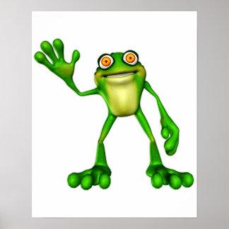 Froggie the Cute Cartoon Waving Frog Print