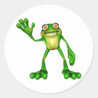 Froggie the Cute Cartoon Waving Frog Classic Round Sticker